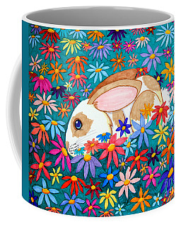 Bunny And Flowers Coffee Mug by Nick Gustafson