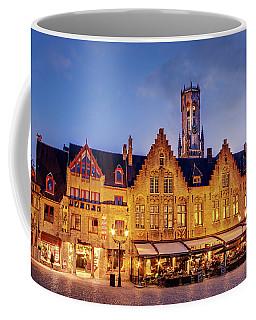 Burg Square Architecture At Night - Bruges Coffee Mug