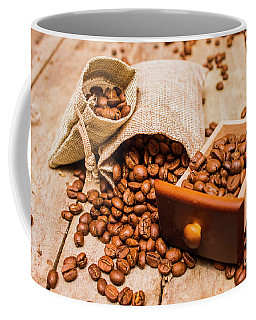 Burlap Bag Of Coffee Beans And Drawer Coffee Mug