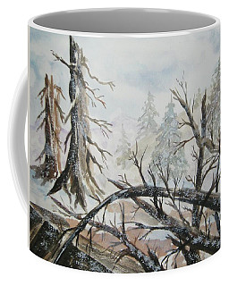 Coffee Mug featuring the painting Burned Forest In The Snow by Ellen Levinson