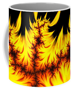 Burning Fractal Flames Warm Yellow And Orange Coffee Mug