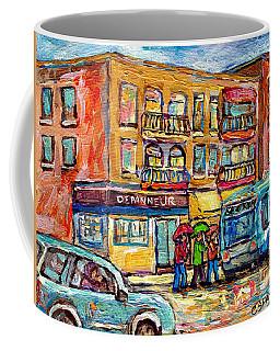 Bus Stop Depanneur Arret 58 Wellington Bus Cornerstore Rainy Day Verdun Montreal Painting C Spandau  Coffee Mug
