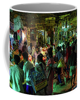 Coffee Mug featuring the photograph Busy Chennai India Flower Market by Mike Reid
