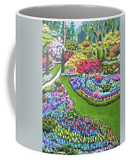 Coffee Mug featuring the painting Butchart Gardens by Amelie Simmons
