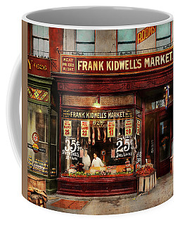 Coffee Mug featuring the photograph Butcher - Meat Priced Right 1916 by Mike Savad