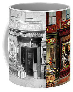 Butcher - Meat Priced Right 1916 - Side By Side Coffee Mug by Mike Savad