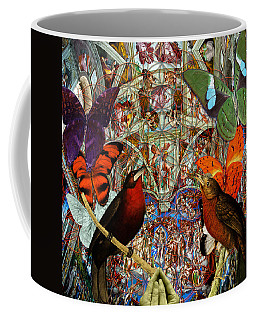 Butterflies Birds And Heart  Coffee Mug by Joseph Mosley
