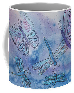 Coffee Mug featuring the painting Butterflies And Dragonflies by Ellen Levinson