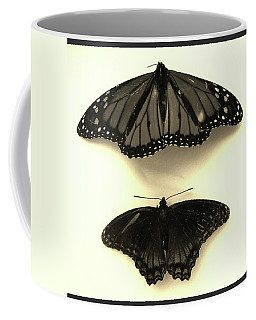Butterflies In Monochrome Coffee Mug by Mary Ellen Frazee