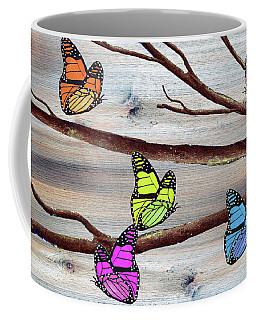Butterflies On Rustic Background Coffee Mug