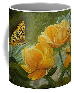 Butterfly Among Yellow Flowers Coffee Mug