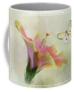 Butterfly And Fiesta Hibiscus Coffee Mug