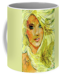 Coffee Mug featuring the painting Butterfly Blonde by P J Lewis