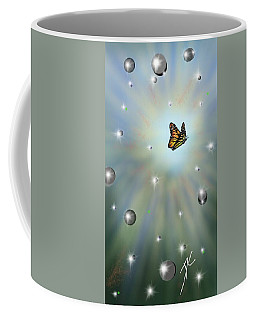 Coffee Mug featuring the digital art Butterfly Bubbles by Darren Cannell