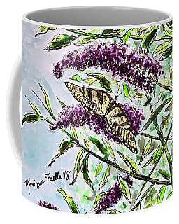 Coffee Mug featuring the painting Butterfly Bush by Monique Faella