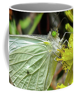Butterfly Feasting On Yellow Flowers Coffee Mug