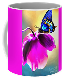 Coffee Mug featuring the painting Butterfly Floral by Catherine Lott