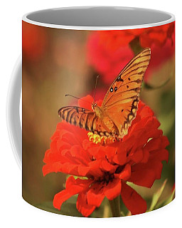 Butterfly In Garden Coffee Mug by Donna G Smith