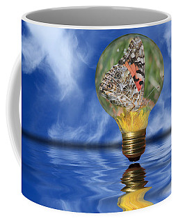 Butterfly In Lightbulb - Landscape Coffee Mug