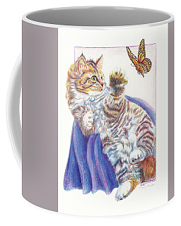 Coffee Mug featuring the drawing Butterfly Kitten by Sherry Shipley