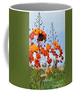 Butterfly On Bird Of Paradise Coffee Mug