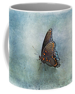 Coffee Mug featuring the photograph Butterfly On Blue by Sandy Keeton