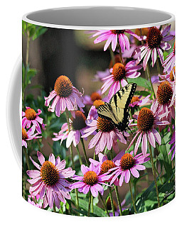 Coffee Mug featuring the photograph Butterfly On Coneflowers by Trina Ansel