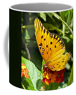 Coffee Mug featuring the photograph Butterfly On Lantana by Bill Barber