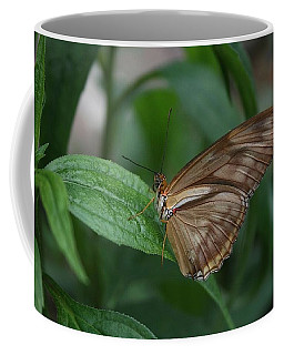 Coffee Mug featuring the photograph Butterfly On Leaf by Cathy Harper