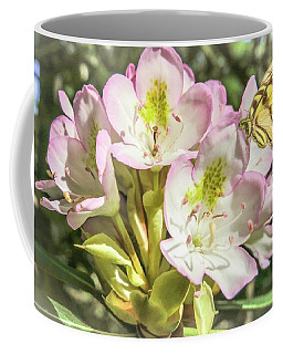 Butterfly On Wild Rhododendron Flower. Coffee Mug