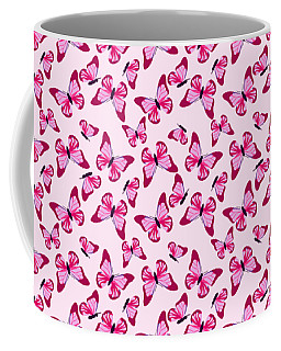 Coffee Mug featuring the digital art Butterfly Pattern In Pink by MM Anderson