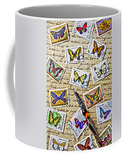 Butterfly Stamps And Old Document Coffee Mug