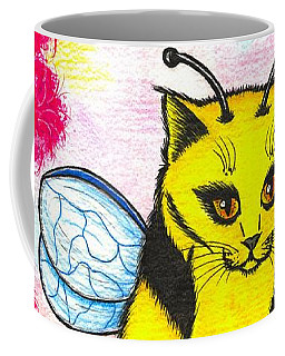Coffee Mug featuring the painting Buzz Bumble Bee Fairy Cat by Carrie Hawks