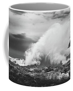 Bw Huge Wave Crashing On Tsitsikamma National Park South Africa Coffee Mug