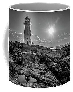 Bw Of Iconic Lighthouse At Peggys Cove  Coffee Mug by Ken Morris