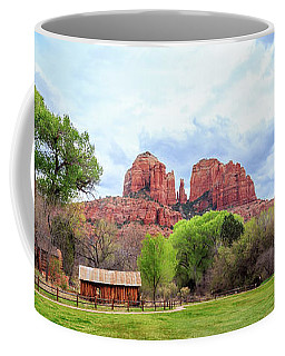 Coffee Mug featuring the photograph Cabin At Cathedral Rock Panorama by James Eddy