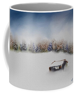 Coffee Mug featuring the painting Cabin In Snow by Frank Bright