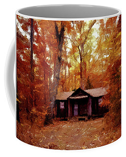 Coffee Mug featuring the painting Cabin In The Woods P D P by David Dehner