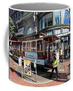 Coffee Mug featuring the photograph Cable Car Union Square Stop by Steven Spak