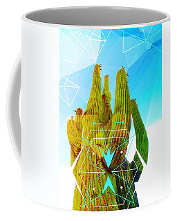 Coffee Mug featuring the mixed media Cacti Embrace by Michelle Dallocchio
