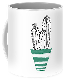 Coffee Mug featuring the mixed media Cactus In A Green Pot- Art By Linda Woods by Linda Woods