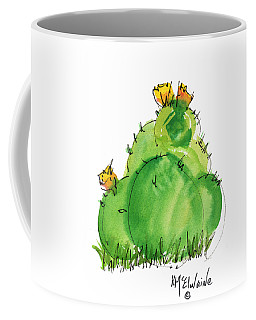 Cactus In The Yellow Flower Watercolor Painting By Kmcelwaine Coffee Mug