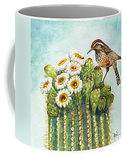 Coffee Mug featuring the painting Cactus Wren And Saguaro by Marilyn Smith