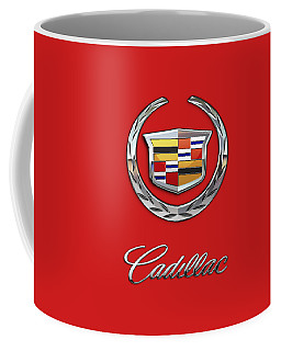 Cadillac - 3 D Badge On Red Coffee Mug