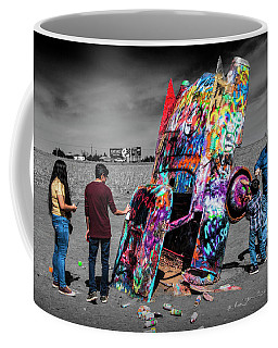 Coffee Mug featuring the photograph Cadillac Ranch Spray Paint Fun Along Historic Route 66 By Amarillo Texas by Randall Nyhof