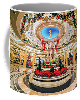 Caesars Palace Main Entrance At Christmas Wide Coffee Mug by Aloha Art