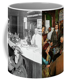 Coffee Mug featuring the photograph Cafe - Temptations 1915 - Side By Side by Mike Savad