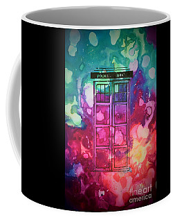 Coffee Mug featuring the drawing Caia's Tardis by Justin Moore