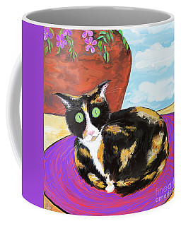 Calico Cat On A Rug  Coffee Mug