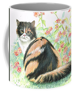 Coffee Mug featuring the painting Calico Cat.. by Val Stokes